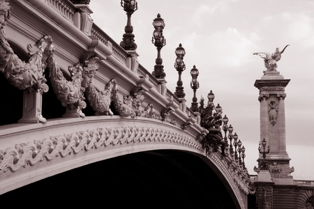 Alexandre III Bridge in Black and White Sepia Tone in Paris, France Europe photo