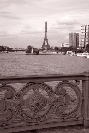 Eiffel Tower from Bridge in Black and White Sepia Tone, Paris, France photo