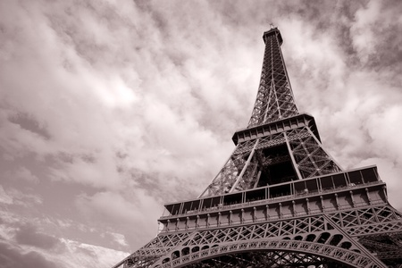 Eiffel Tower in Black and White Sepia Tone in Paris; France photo