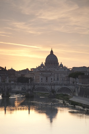 St Peters Church at Twilight; Vatican; Rome, Europe