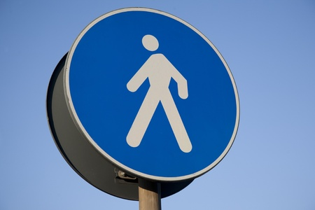 Pedestrian Sign against Blue Sky Background Stock Photo - 11067178