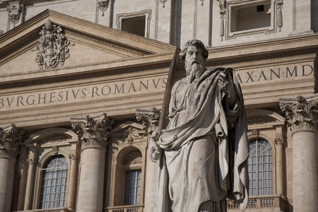 Statue of St Paul outside the St Peters Basilica Church by Tadolini (1838), Vatican, Rome
