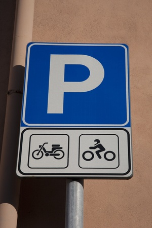 Blue Parking Sign for Motorbikes and Bicycles