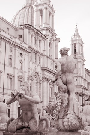 black moor: Fountain of the Moor in Black and White Sepia Tone by Giacomo della Porta 1576, Piazza Navona Square, Rome, Italy