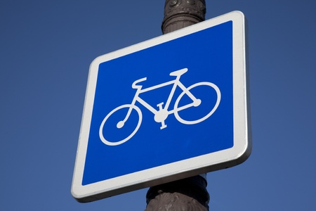 Blue Bike Sign on Lamppost Stock Photo - 11792263