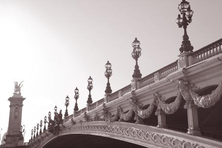 Pont Alexandre III Bridge in Black and White Sepia Tone in Paris, France photo
