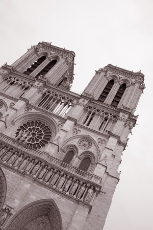 Notre Dame Cathedral in Black and White Sepia Tone in Paris, France photo
