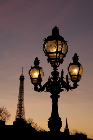 iii: Pont Alexandre III Bridge illuminated at night and the Eiffel Tower in Paris, France