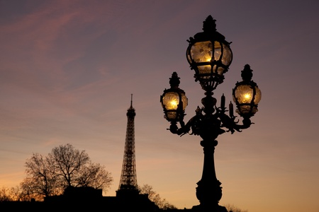 iii: Illuminated Lamppost on Pont Alexandre III Bridge with the Eiffel Tower in the background in Paris; France