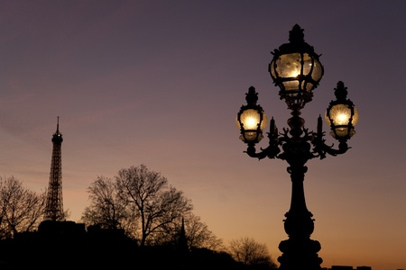 iii: Lamppost on Pont Alexandre III Bridge with the Eiffel Tower in the Background in Paris, France