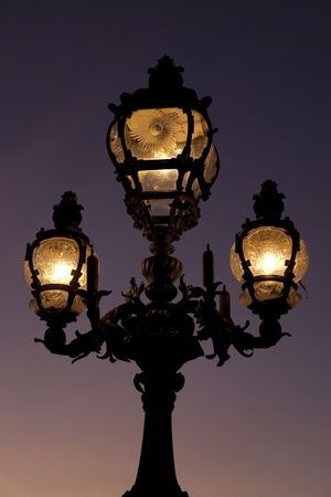 alexandre: Lamppost on Pont Alexandre III Bridge in Paris; France