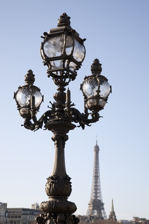 Lamppost on Pont Alexandre III Bridge with the Eiffel Tower in the Background in Paris, France