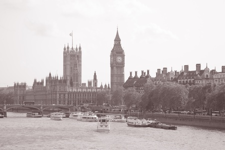 Houses of Parliament and Big Ben; London; UK in Black and White Sepia Tone photo