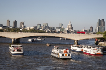 Waterloo Bridge and St Pauls Cathedral Church, London, England, UK photo