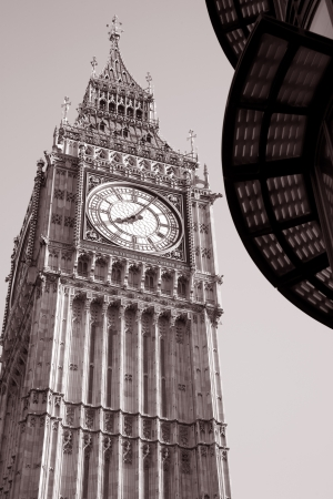 Big Ben in Black and White Sepia Tone, London, England, Britain, UK photo