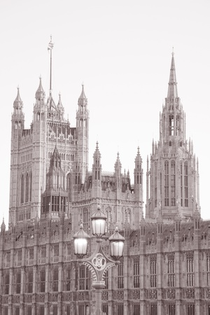 Houses of Parliament, London in Black and White Sepia, Tone photo