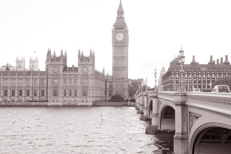 Houses of Parliament and Big Ben in Black and White Sepia Tone in London, England, UK