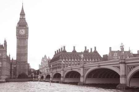 Westminster Bridge, Big Ben; London; England; UK in Black and White Sepia Tone