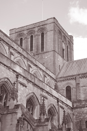 winchester: Winchester Cathedral, England, UK in Black and White Sepia Tone