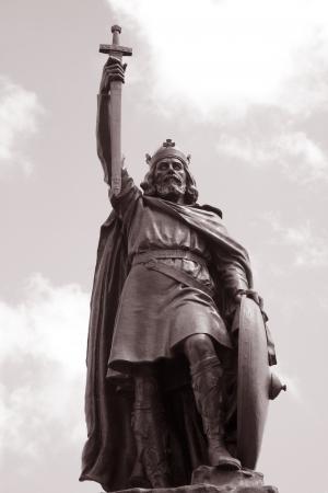 winchester: King Alfred Statua di Thornycroft 1899, Winchester, Inghilterra, Regno Unito Archivio Fotografico
