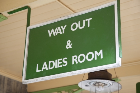ausweg: Green Way Out and Ladies Toilet Sign