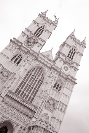Westminster Abbey in Black and White Sepia Tone, London, UK photo