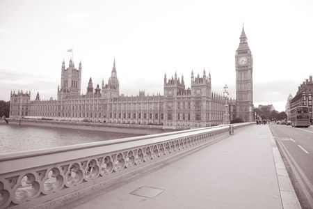 Big Ben; Houses of Parliament; Westminster; London; England; UK in Black and White Sepia Tone