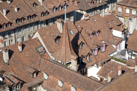 arial views: Red Roofs of Bern in Switzerland, Europe Stock Photo