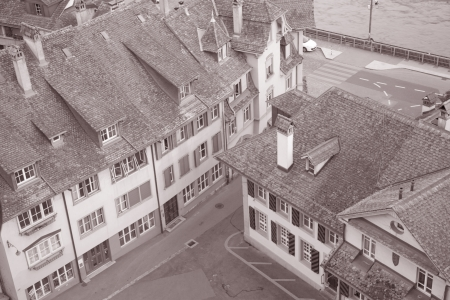 arial views: Facades of Bern, Switzerland in Black and White Sepia Tone Stock Photo