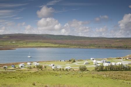 Camp Site at Borve, Isle of Skye, Scotland, UK Stock Photo