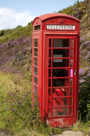 Red Telephone Box in Rural Setting, Scotland, UK