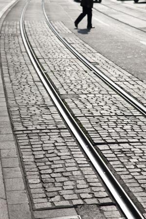 Tram Rail in Geneva, Switzerland, Europe