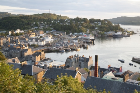 Oban Harbor in Scotland, UK in Evening Light Stock Photo