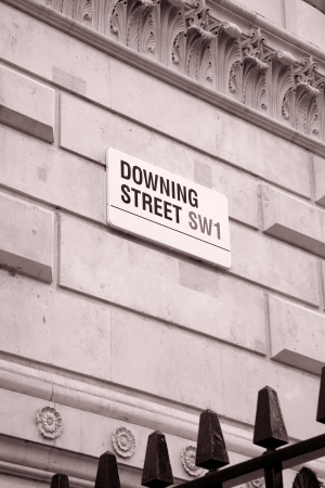 Downing Street Sign, London in Black and White Sepia Tone