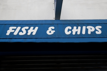 Blue Fish and Chips Sign photo