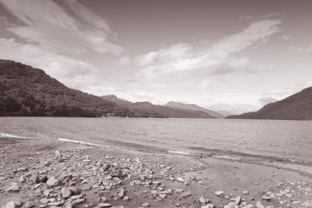 loch lomond: Loch Lomond; Scotland; UK in Black and White Sepia Tone
