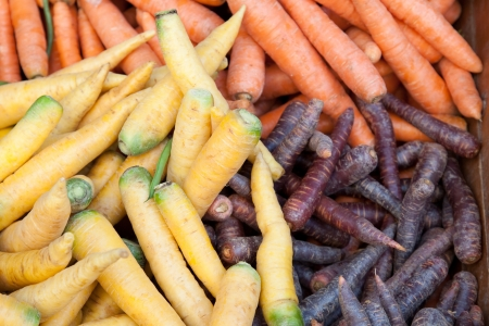 Various types of carrots on Martket Stall Stock Photo
