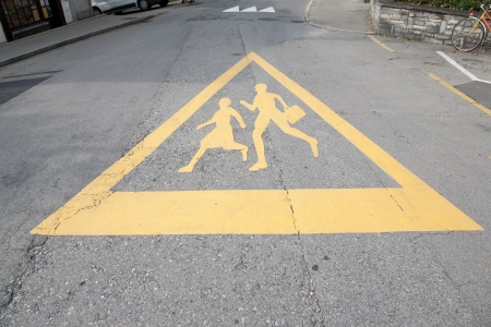 School Safety Sign Painted on Road Stock Photo - 17209814