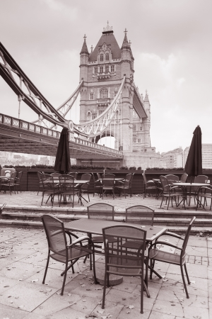 Tower Bridge in London, England, UK in Black and White Sepia Tone photo
