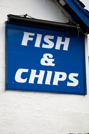 Blue and White Fish and Chips Sign photo