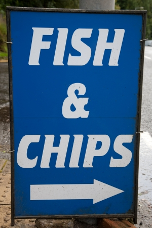 Blue and White Fish and Chips, Sign photo