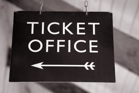 ticket office: Ticket Office Sign in Black and White Sepia Tone