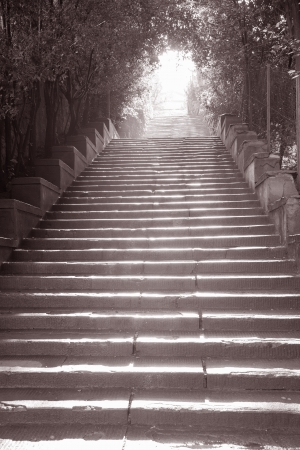 lamp post: Stairway to Piazza Michelangelo, Florence, Italy in Black and White Sepia Tone