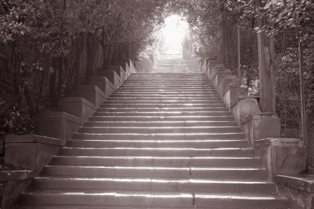 lampost: Stairway to Piazza Michelangelo, Florence, Italy in Black and White Sepia Tone