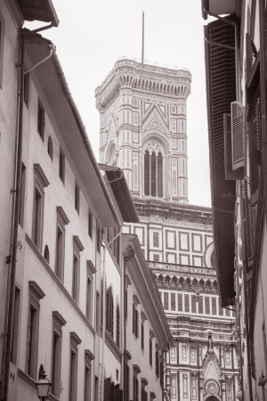 Bell Tower of Duomo Cathedral Church, Florence; Italy in Black and White Sepia Tone photo
