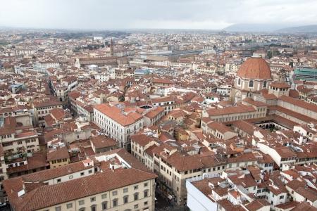 central market: Florence Cityscape, Italy including San Lorenzo Church, Central Market and Santa Maria Novella Railway Station