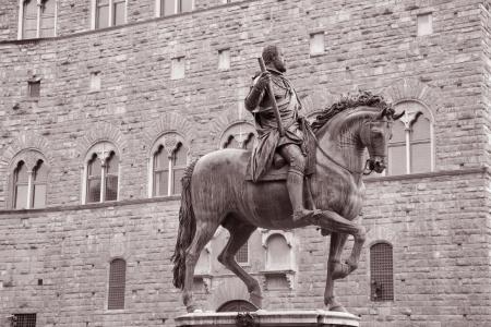 Cosimo I de Medici Equestrian Statue by Giambologna  1598 , Florence, Italy in Black and White Sepia Tone photo