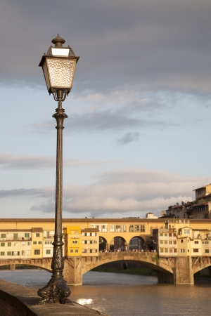 Ponte Vecchio Bridge and Lamppost, Florence, Italy at Night photo
