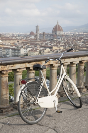View of Doumo Cathedral Church with Bicycle in Florence, Italy photo