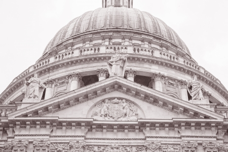 St Pauls Cathedral Church, London, England, UK in Black and White Sepia Tone photo